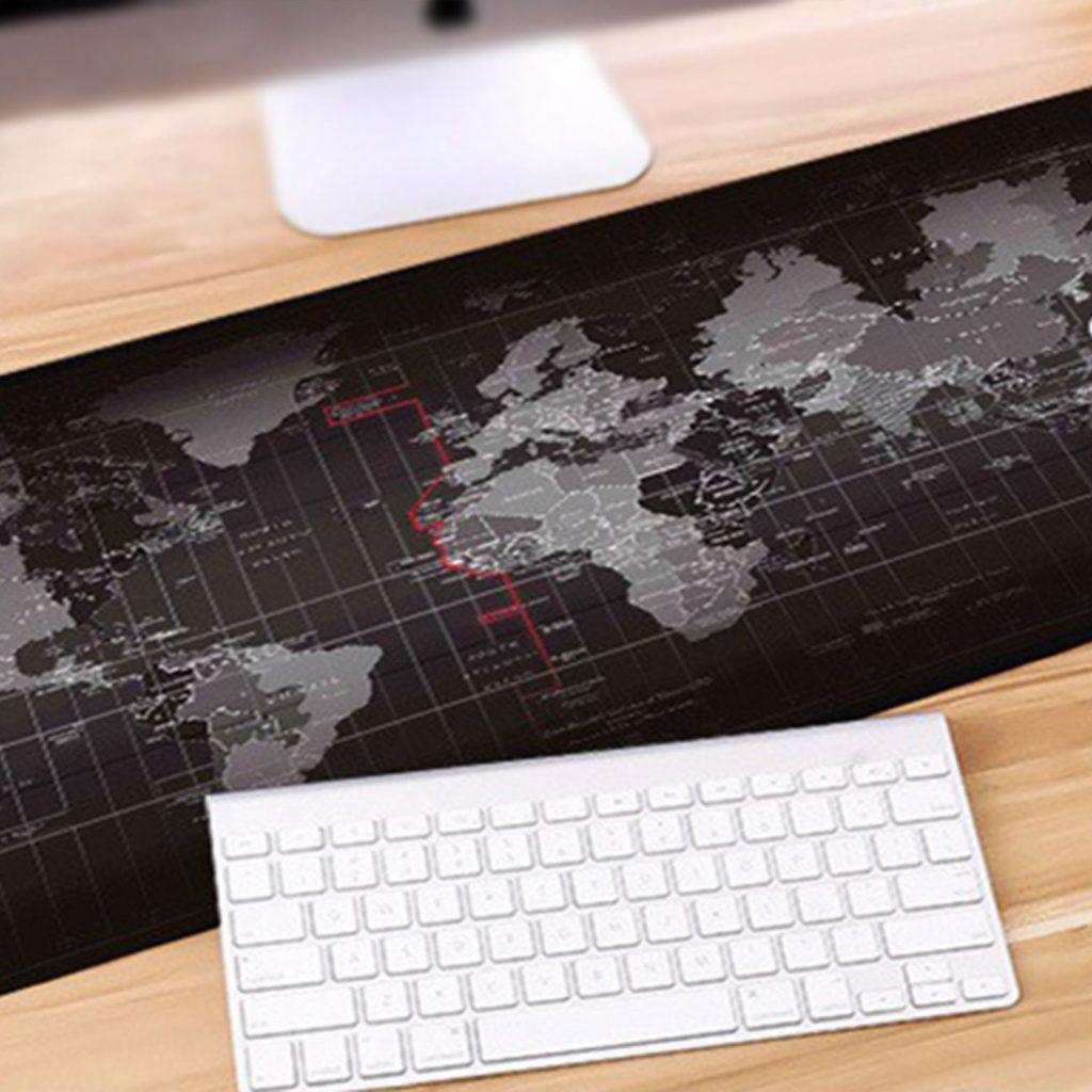 Aquarius Durable Extended World Map Mousepad - Black