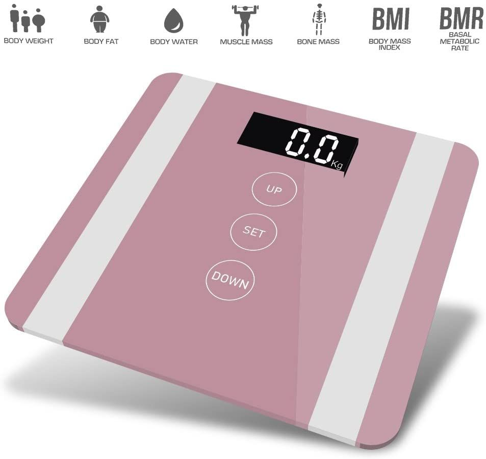 7 in 1 Apple Colour Body Fat Analyser Scale Rose Gold