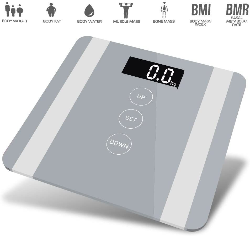 7 in 1 Apple Colour Body Fat Analyser Scale Silver