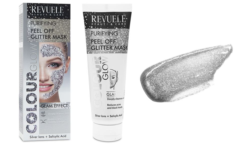 Revuele Regenerating Silver Glitter Peel Off Mask - Pack of 2