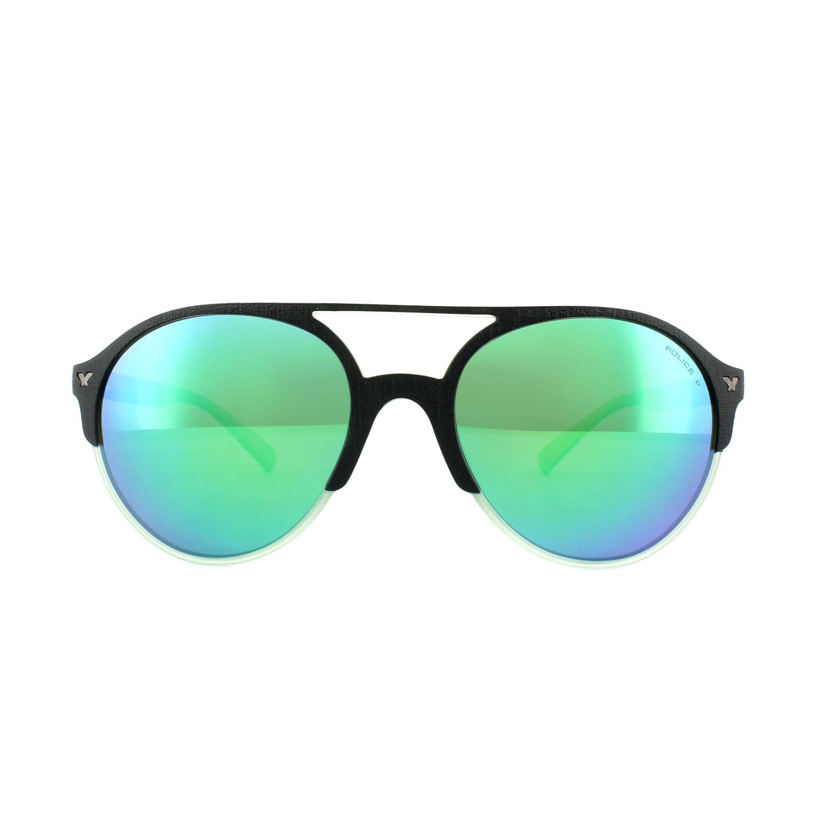 Police Sunglasses Game 7 SPL163 6PCV Matt Black Cream Green Blue Green Mirror