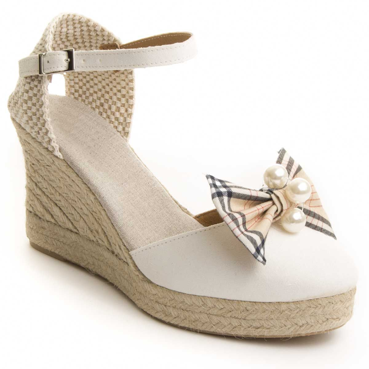 Maria Graor Ankle Strap Wedge Espadrille in White