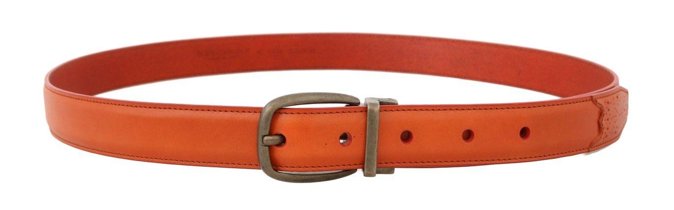 Dolce & Gabbana Orange Leather Gold Buckle Belt