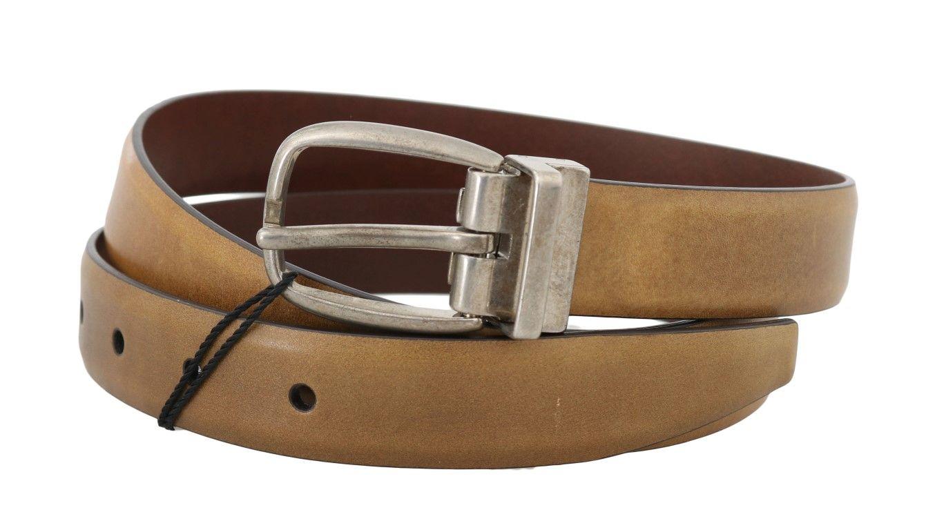 Dolce & Gabbana Yellow Leather Gray Vintage Buckle Belt