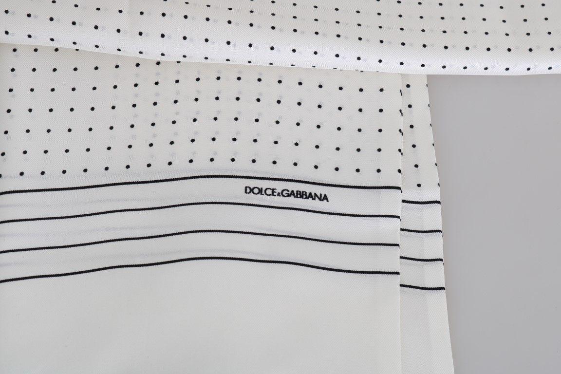 Dolce & Gabbana White Silk Polka Dot Scarf
