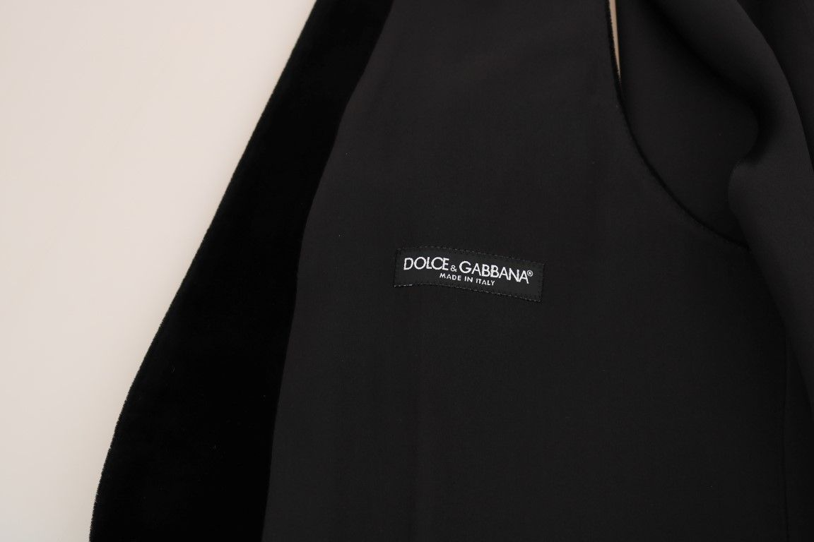 Dolce & Gabbana Black Velvet Formal Cotton Vest