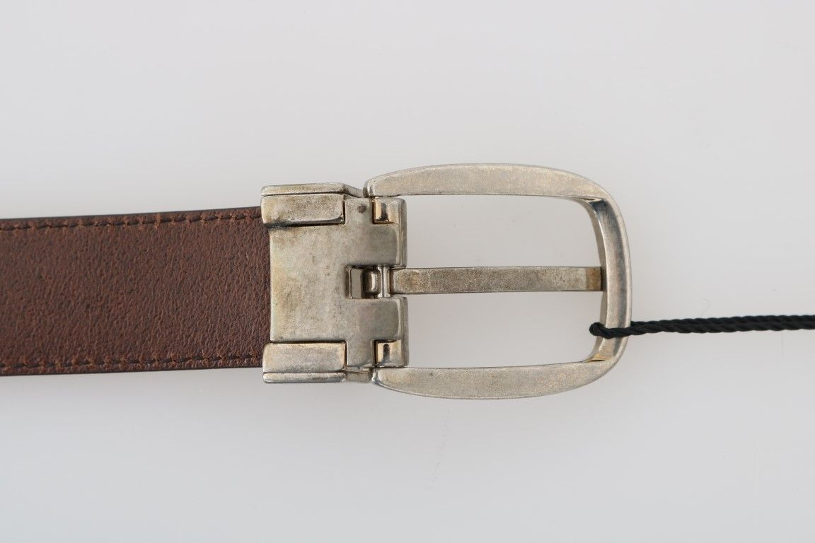 Dolce & Gabbana Brown Leather Gray Oval Buckle Belt