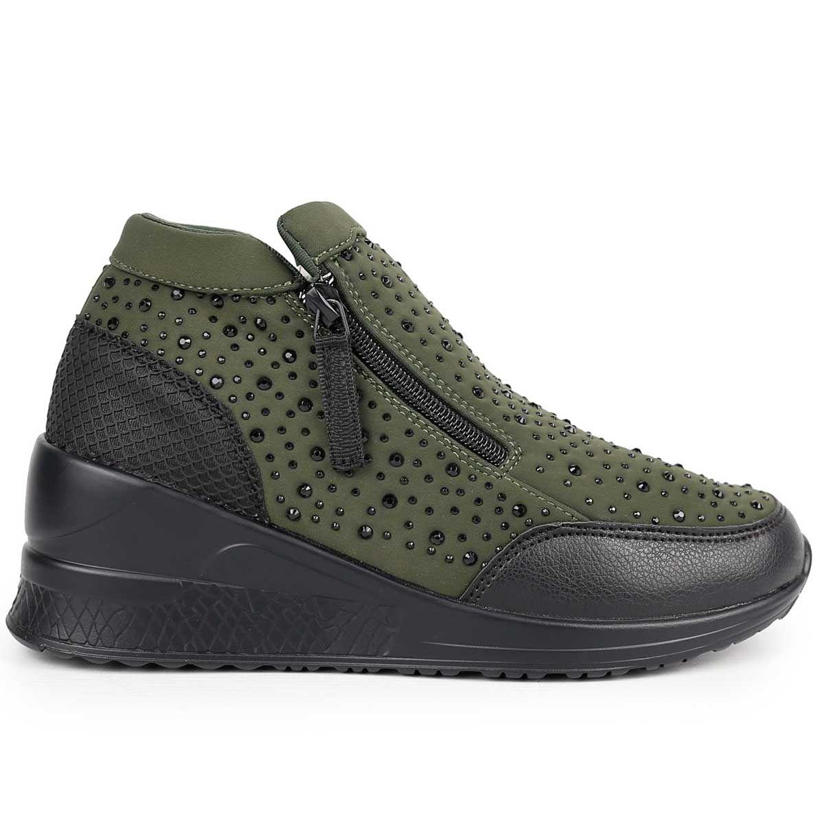 Montevita Sporty Wedge Sneaker in Green