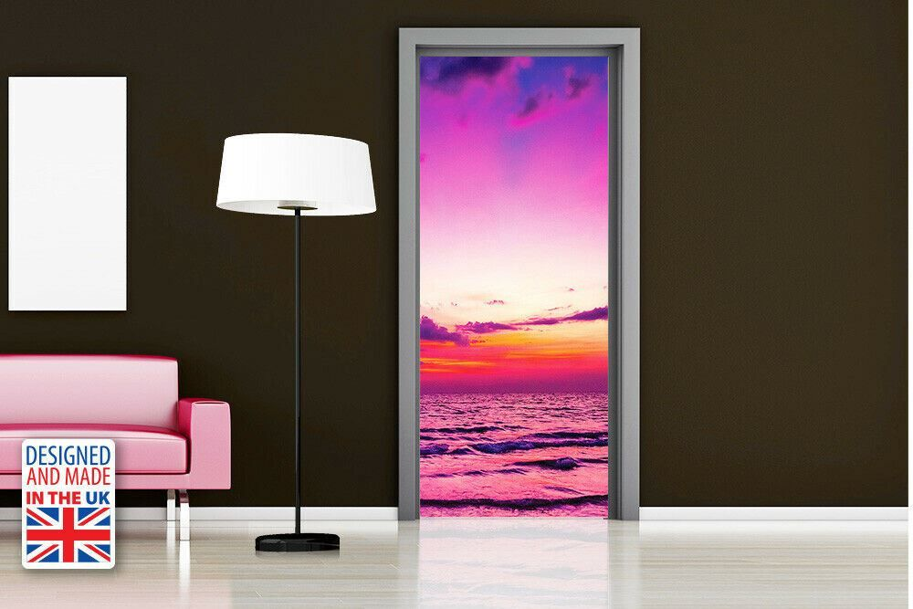 Sunset At Sea Self-Adhesive Door Mural Sticker For All Europe Size 90Cm X 200Cm