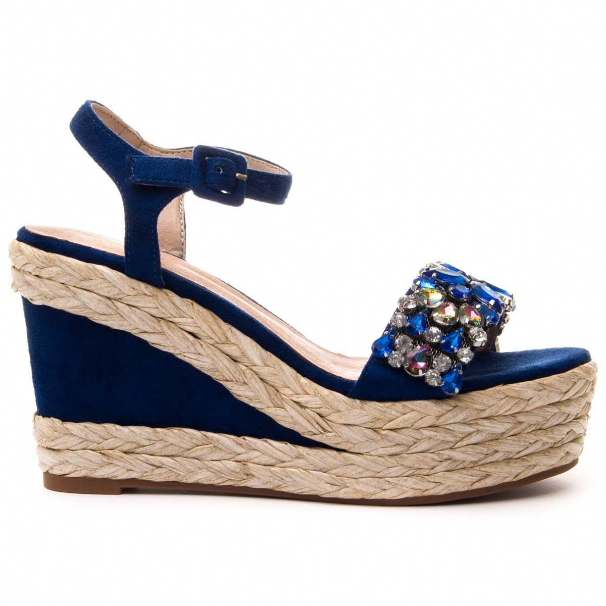 Montevita Ankle Strap Wedge Espadrille in Blue