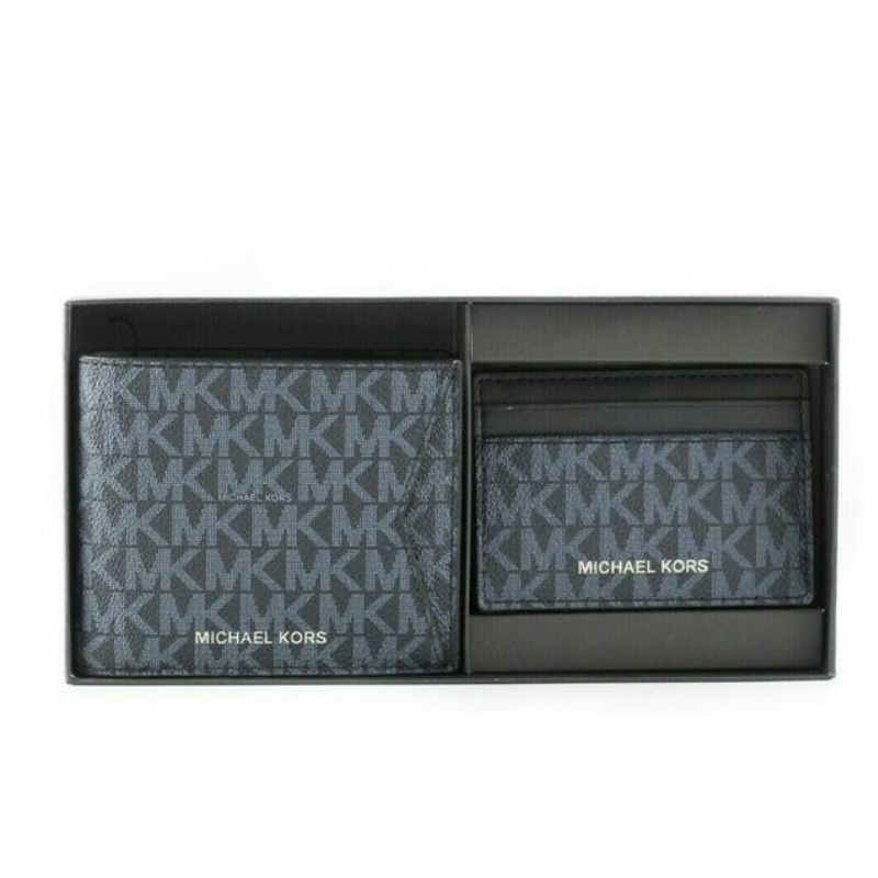 Michael Kors Gifting Leather Billfold Wallet Card Case Gift Box (Admiral/Pale Blue)