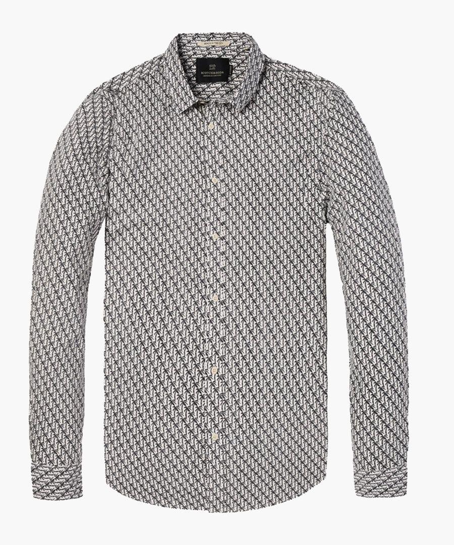 Palm print cotton long sleeve shirt
