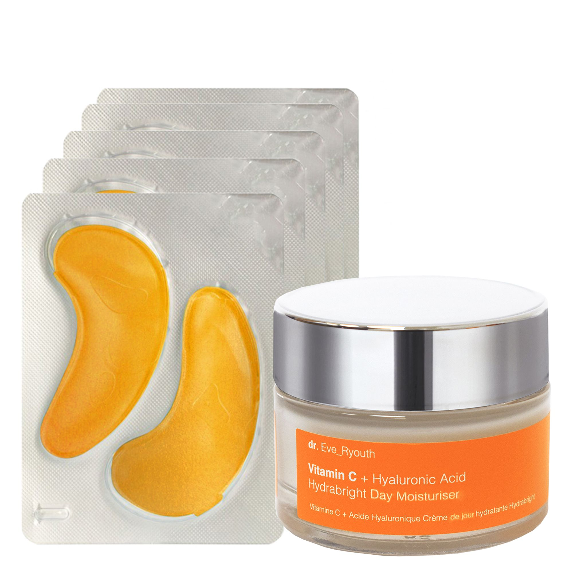 24K Gold + Antioxidant Hydrating Eye Treatments Pads + Vitamin C + Hyaluronic AcidHydrabrightDay Moisturiser 50ml