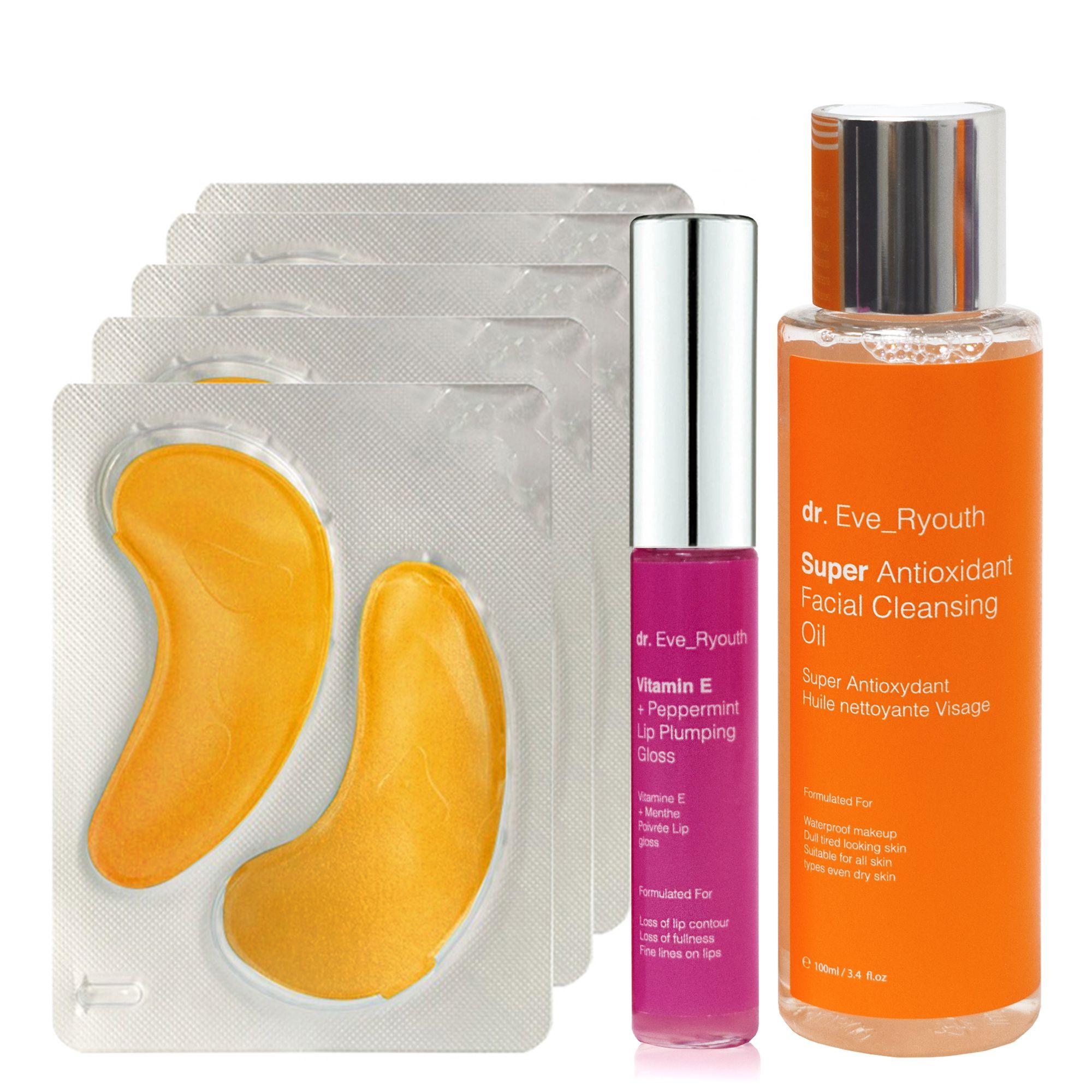 24K Gold + Antioxidant Hydrating Eye Treatments Pads + Super Antioxidant Facial Cleansing Oil 100ml + Vitamin E and Peppermint Lip Plumps 8mlÂ