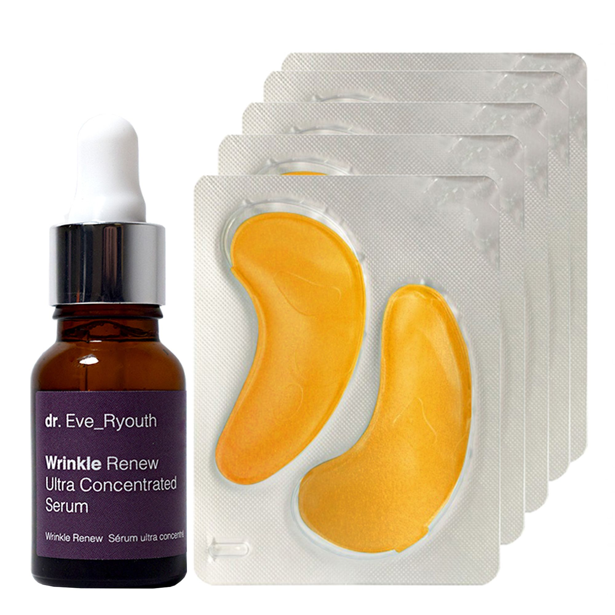 Wrinkle Renew Ultra Concentrated Serum 15ml + 24K Gold + Antioxidant Hydrating Eye Treatments Pads