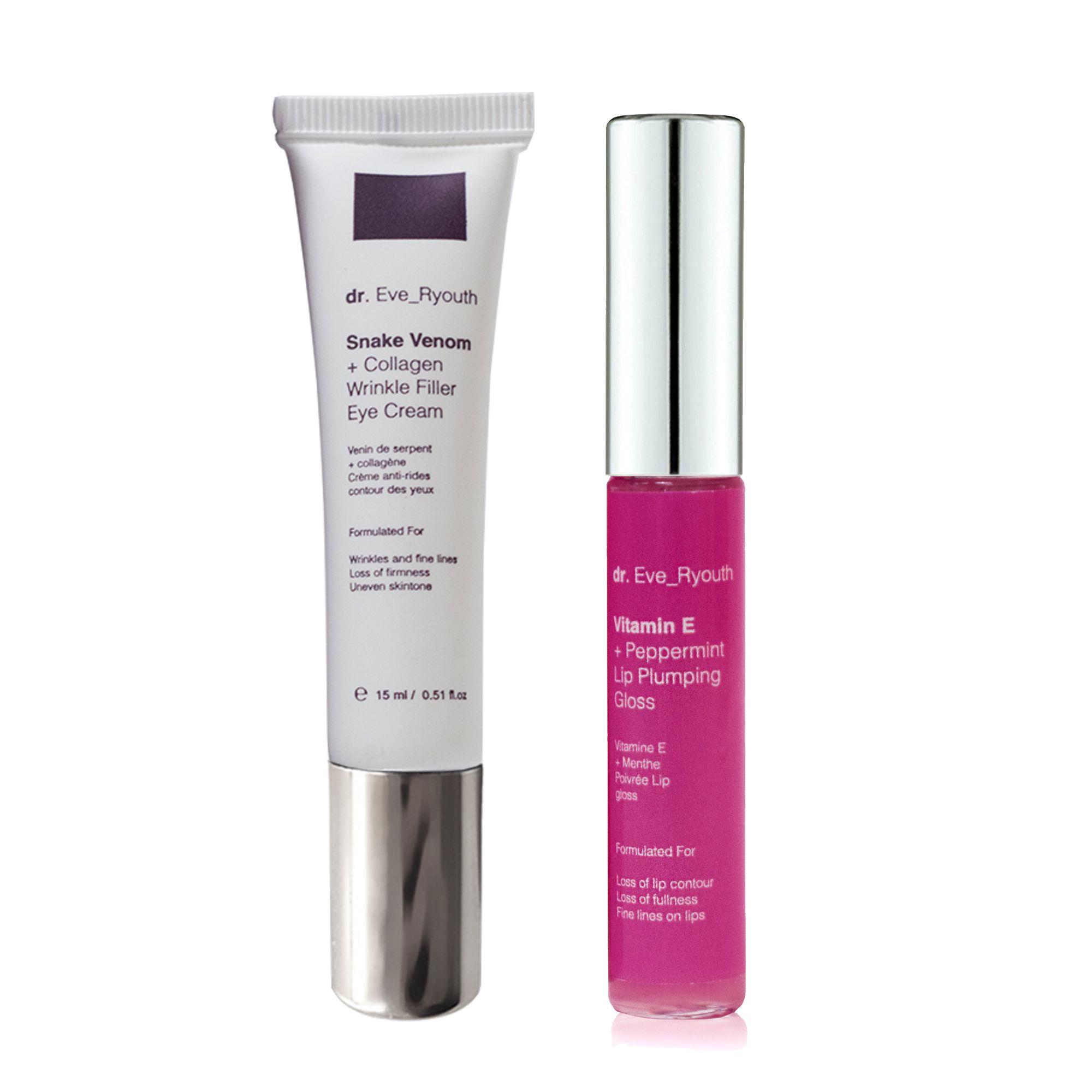 Snake Venom + Collagen Wrinkle Filler Eye Cream 15 + Vitamin E and Peppermint lip Plumps 8ml