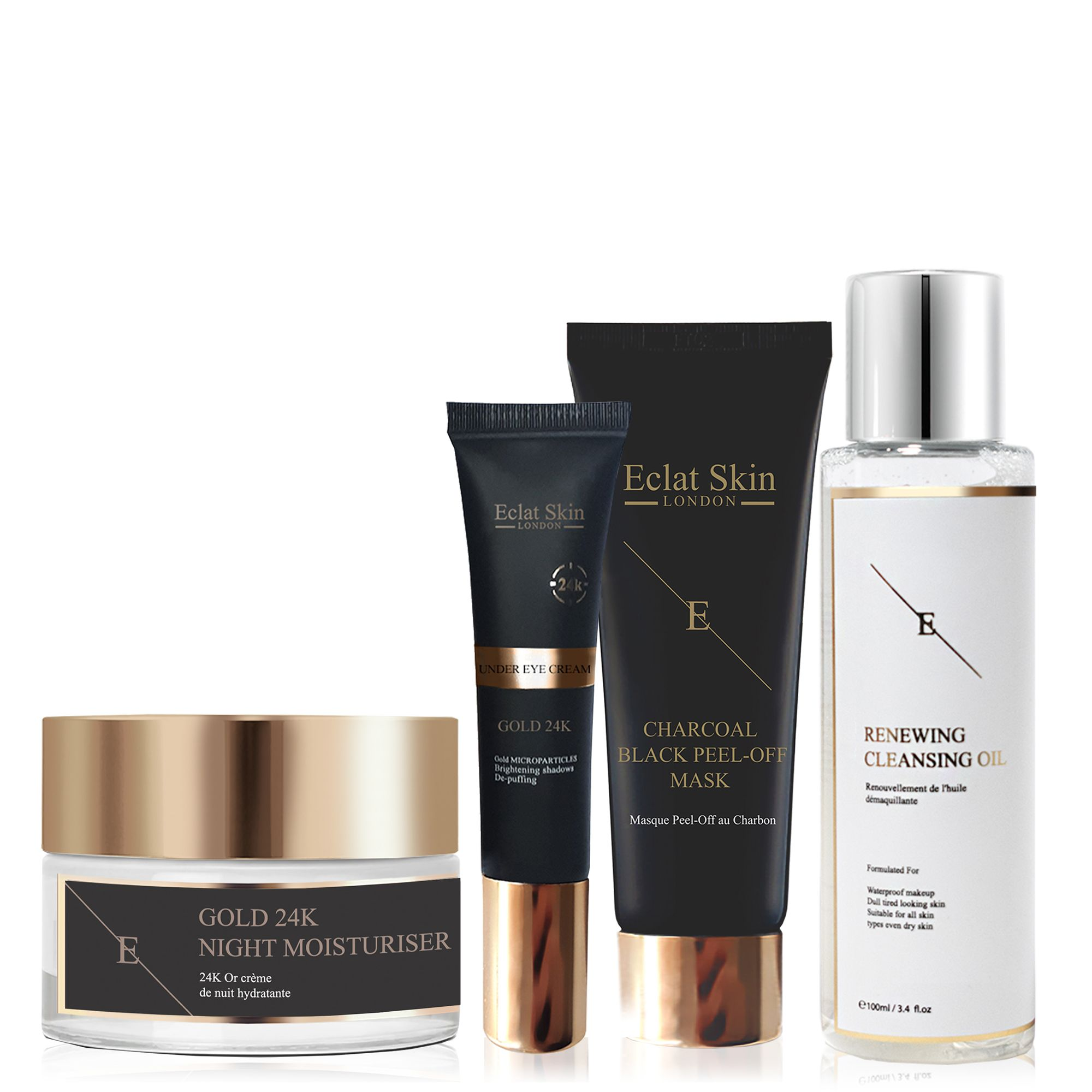 Anti-Wrinkle Night Moisturiser 24K Gold + Under Eye Cream 24K Gold + Face Mask + Renewal Cleansing Oil 100ml