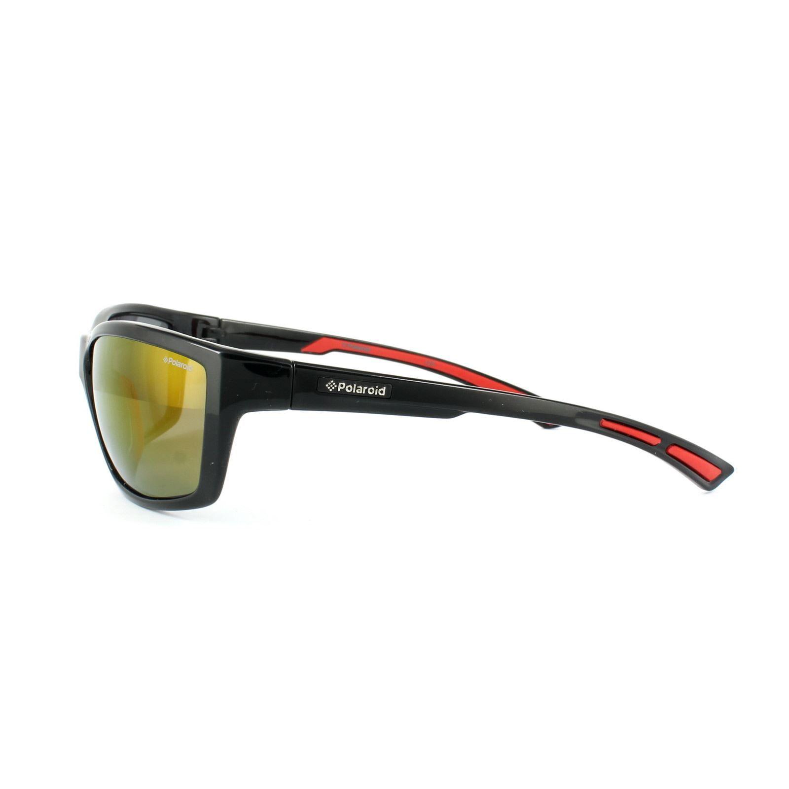 Polaroid Sport Sunglasses P7400 0A2 JB Black & Red Silver Mirror Polarized