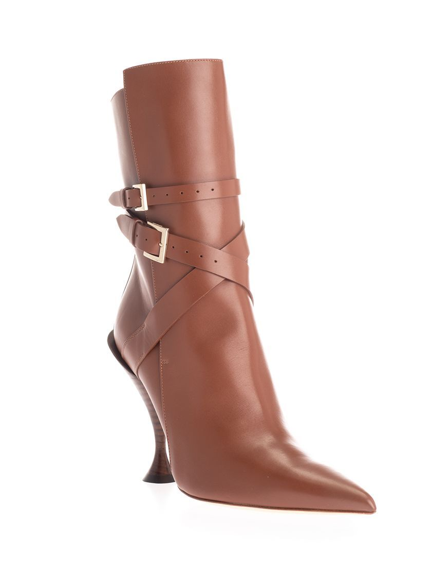 BURBERRY WOMEN'S 8020112 BROWN LEATHER ANKLE BOOTS