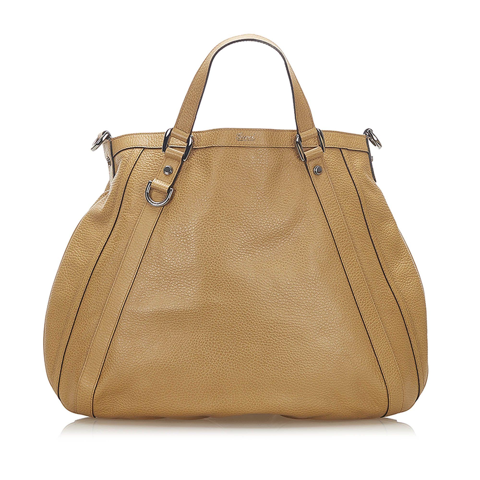 Vintage Gucci Abbey Leather Satchel Brown