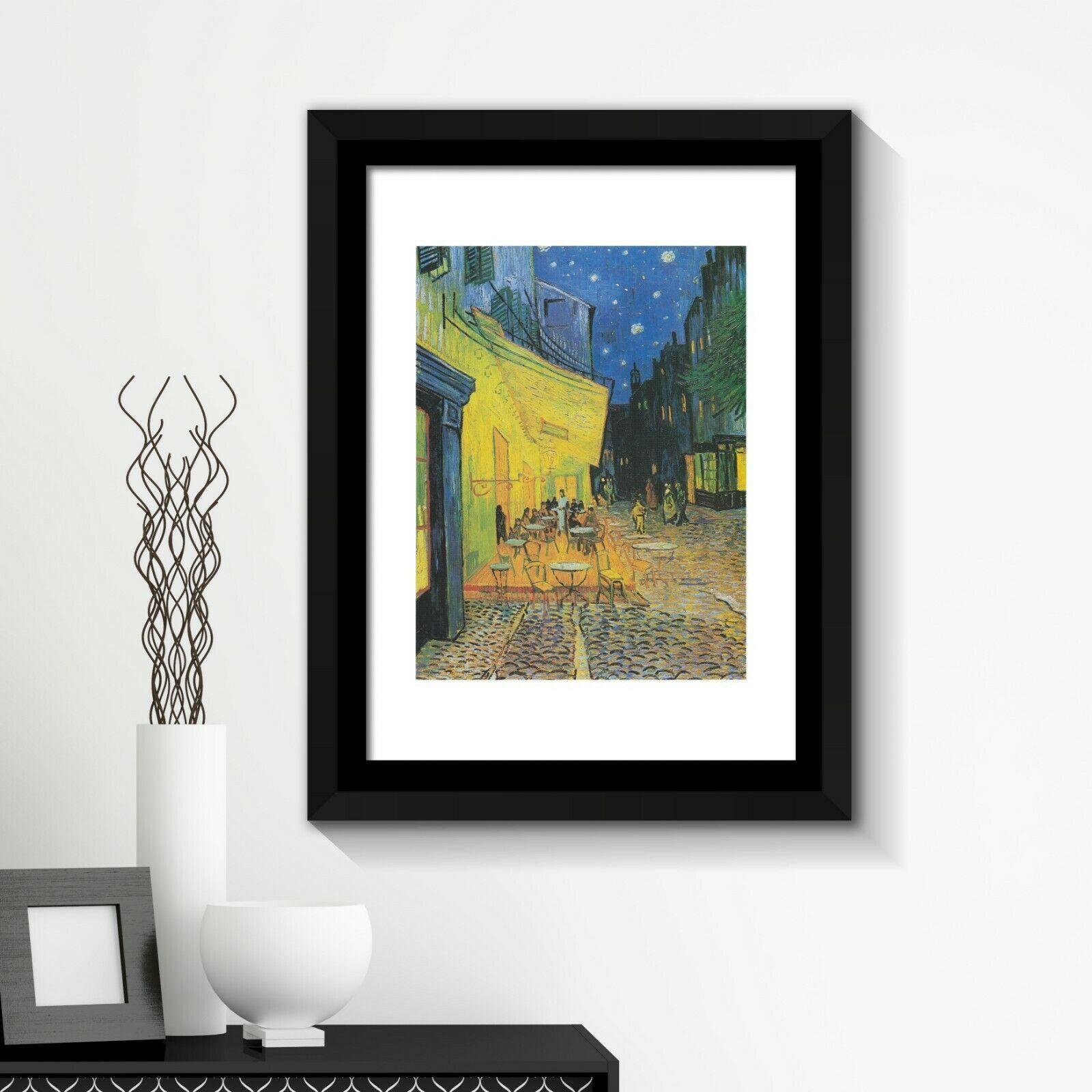 Framed Art 2in1 Painting Poster - Café Terrence at Night, 1888 by Vincent van Gogh Framed Photo, Framed Art