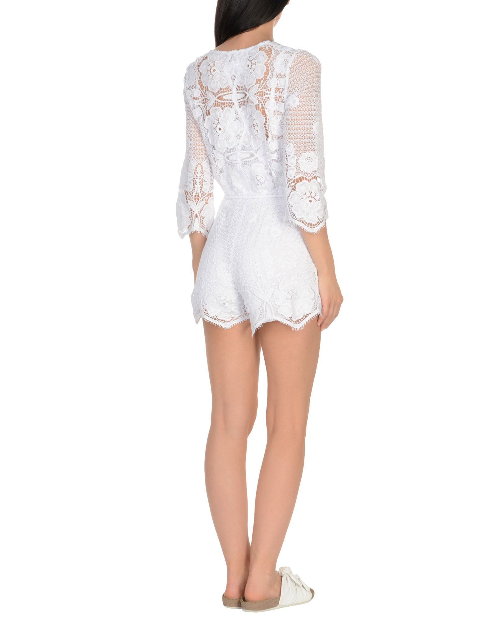 Miguelina White Cotton Lace Playsuit