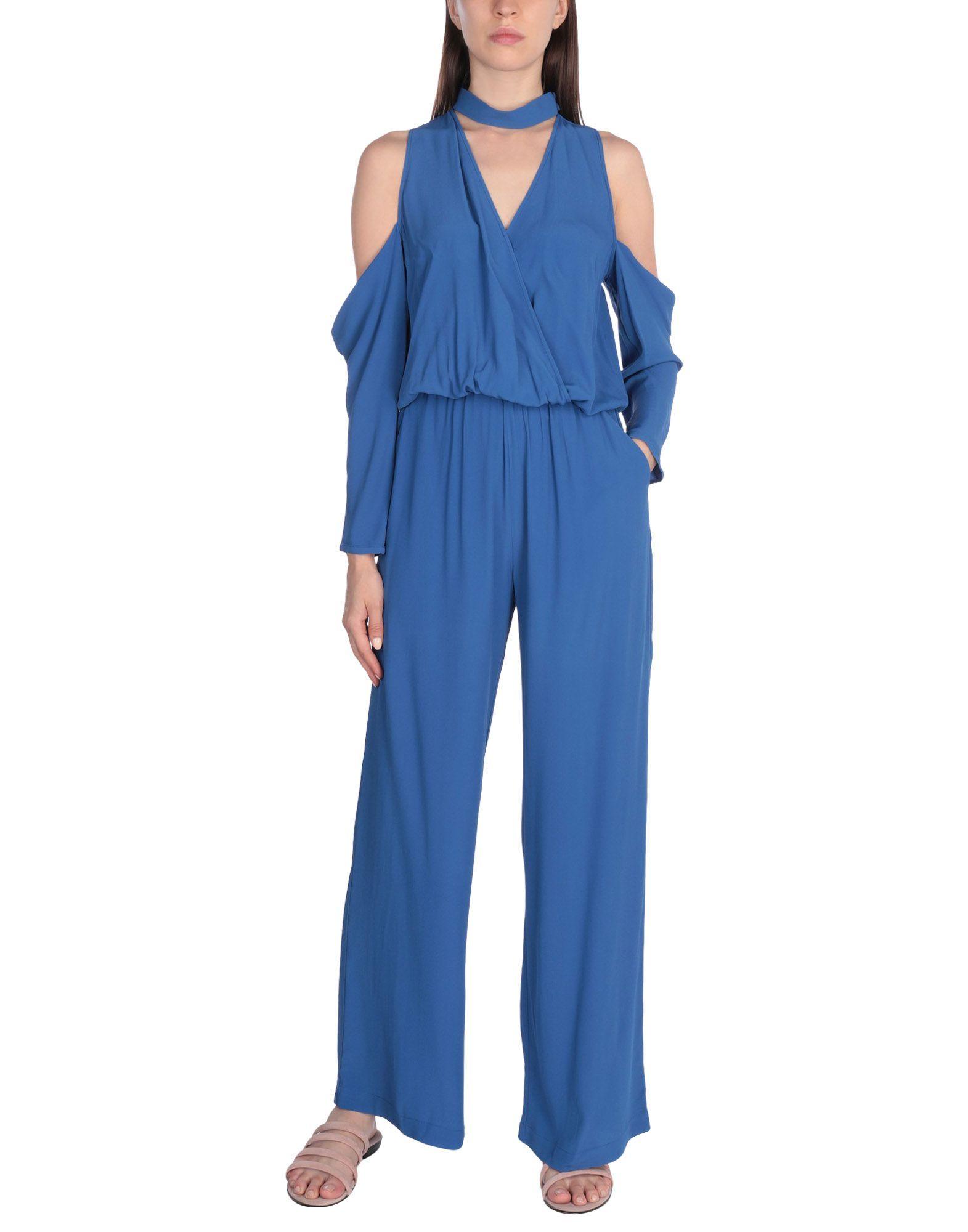 Katia Giannini Pastel Blue Crepe Cold Shoulder Jumpsuit