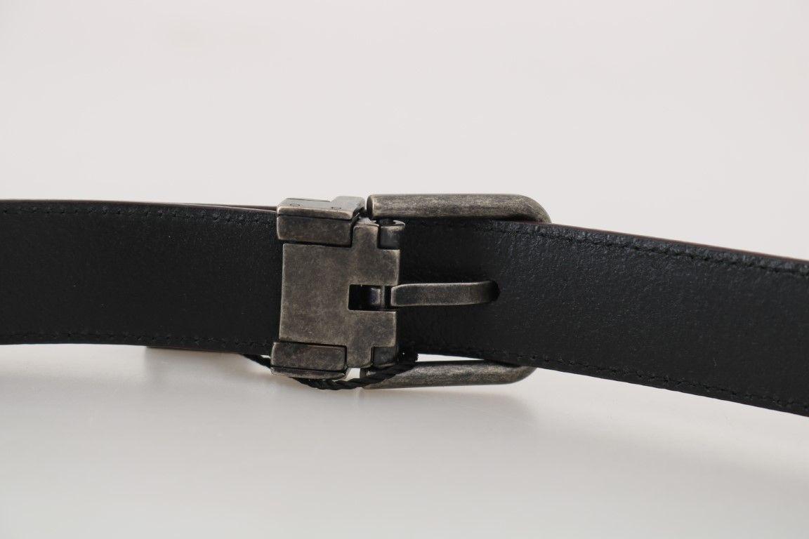 Dolce & Gabbana Bordeaux Leather Gray Brushed Buckle Belt