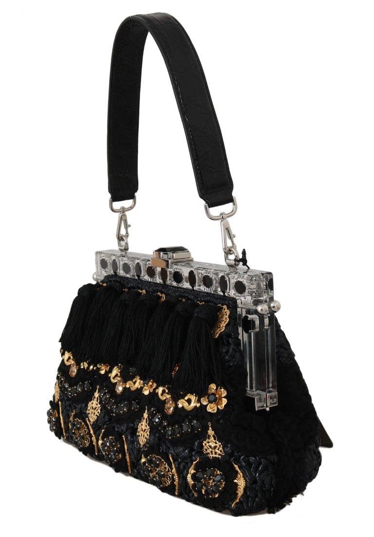 Dolce & Gabbana VANDA Black Crystal Tassel Gold Charms Party Bag