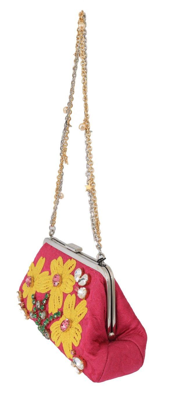 Dolce & Gabbana Pink Brocade Floral Crystal Applique Evening Purse