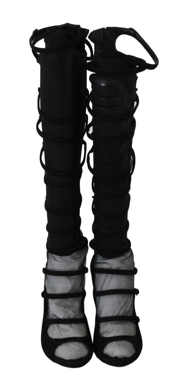 Dolce & Gabbana Black Suede Stretch Straps
