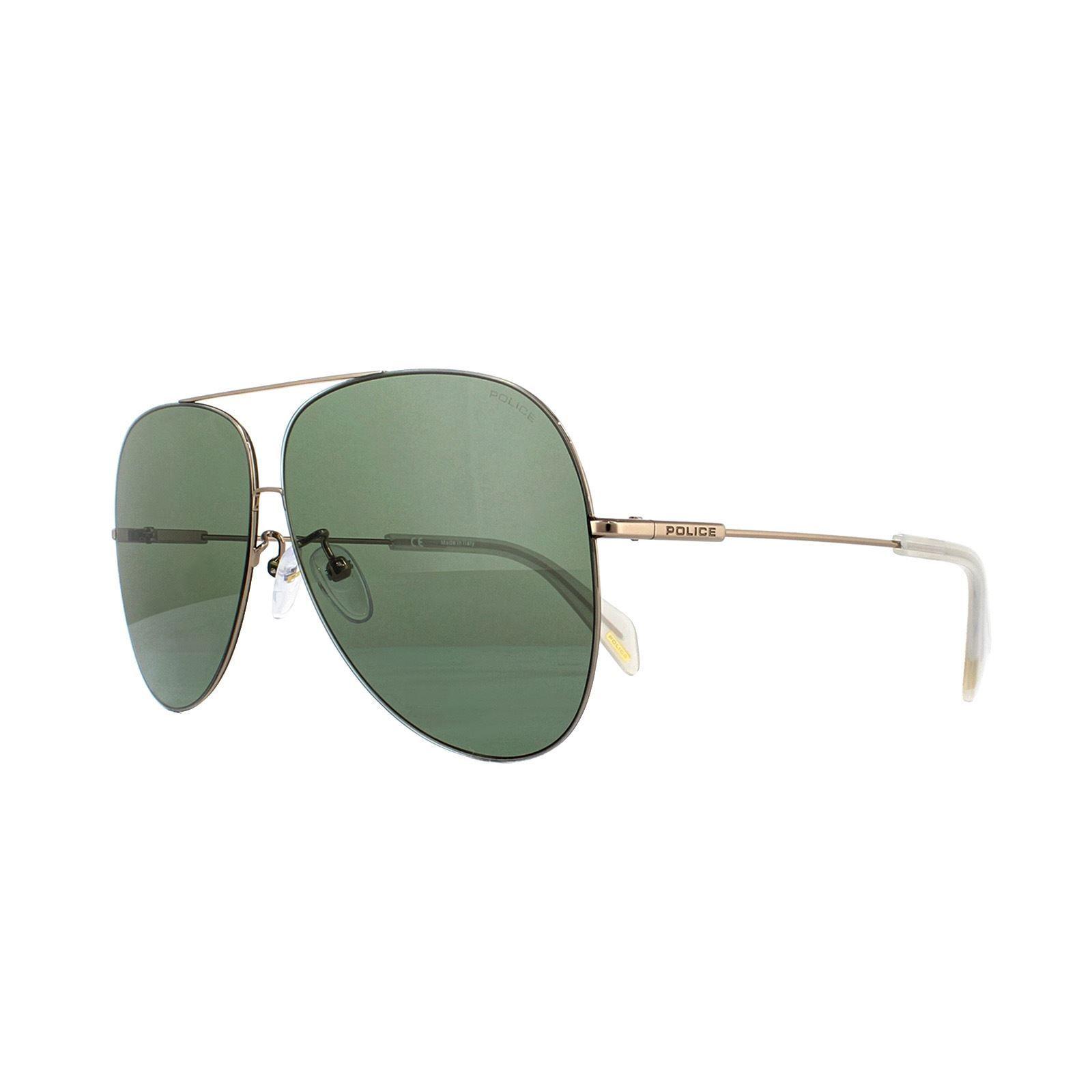Police Sunglasses Goldeneye 3 SPL406M 8FFV White Gold Green