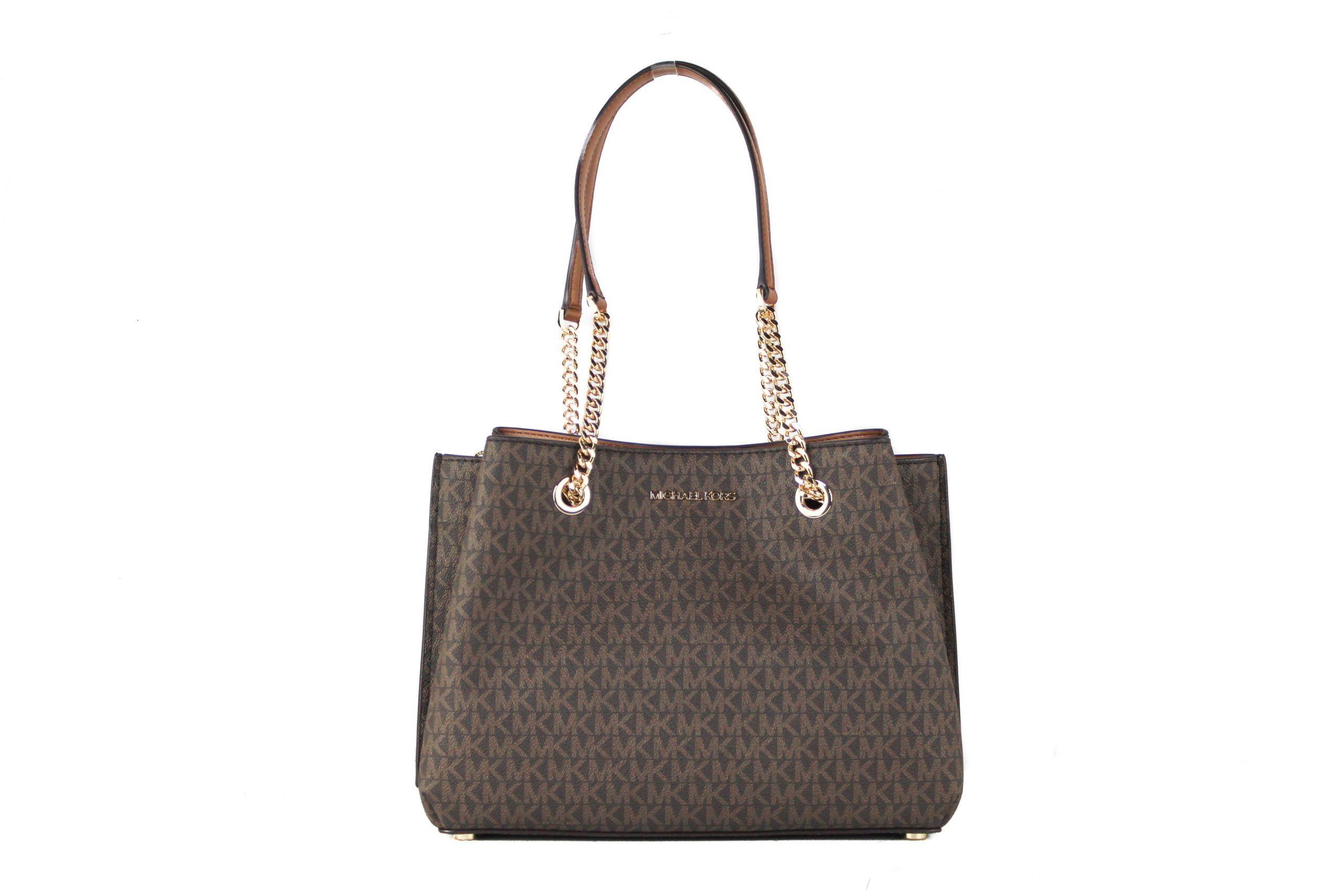 Michael Kors Teagen Large Leather Long Drop Satchel Handbag (Brown Signature)