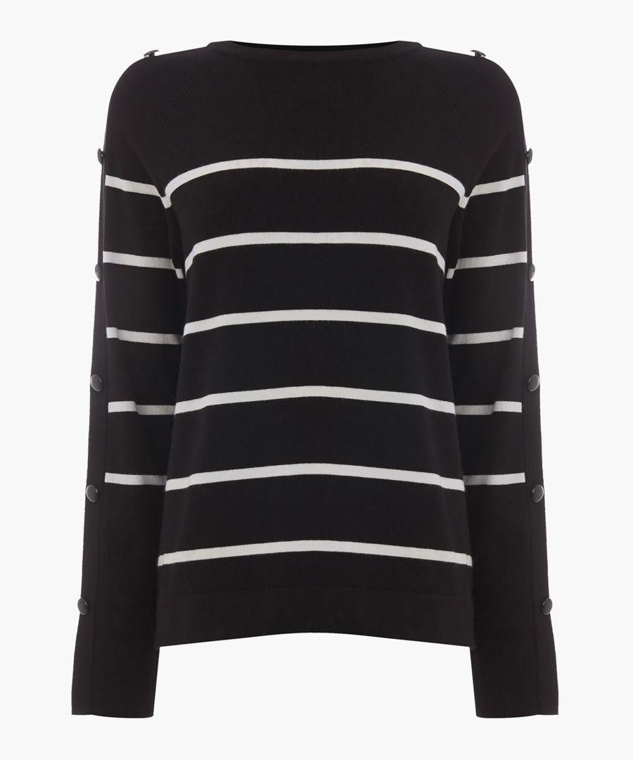 Black stripe button sleeve jumper