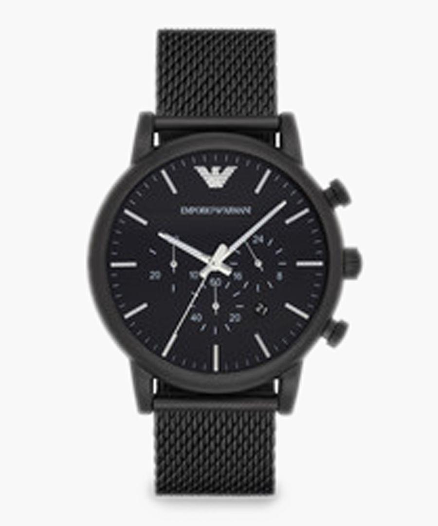 Black stainless steel mesh watch