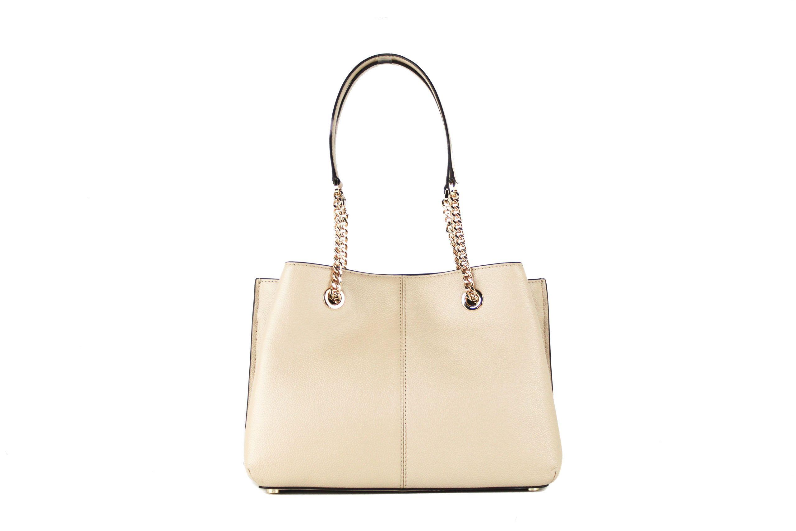 Michael Kors Teagen Large Leather Long Drop Satchel Handbag (Bisque Solid)