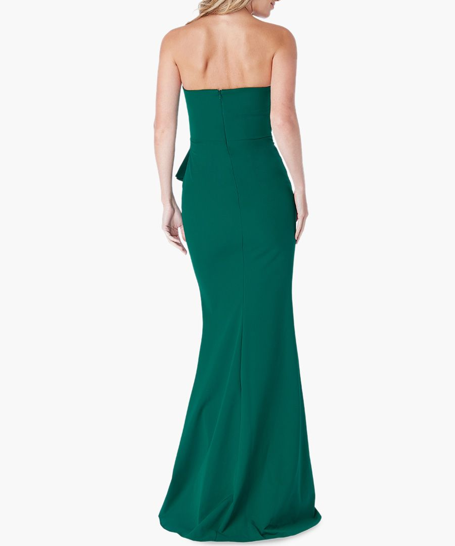 Emerald fan pleated boob tube maxi dress