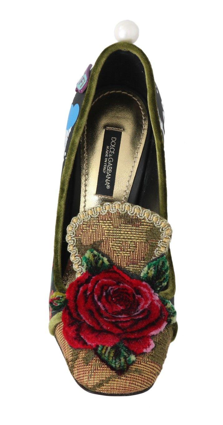 Dolce & Gabbana Black Rocket Space Roses WiFi Pumps