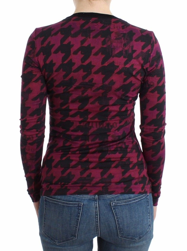 Galliano Purple houndstooth longsleeved top
