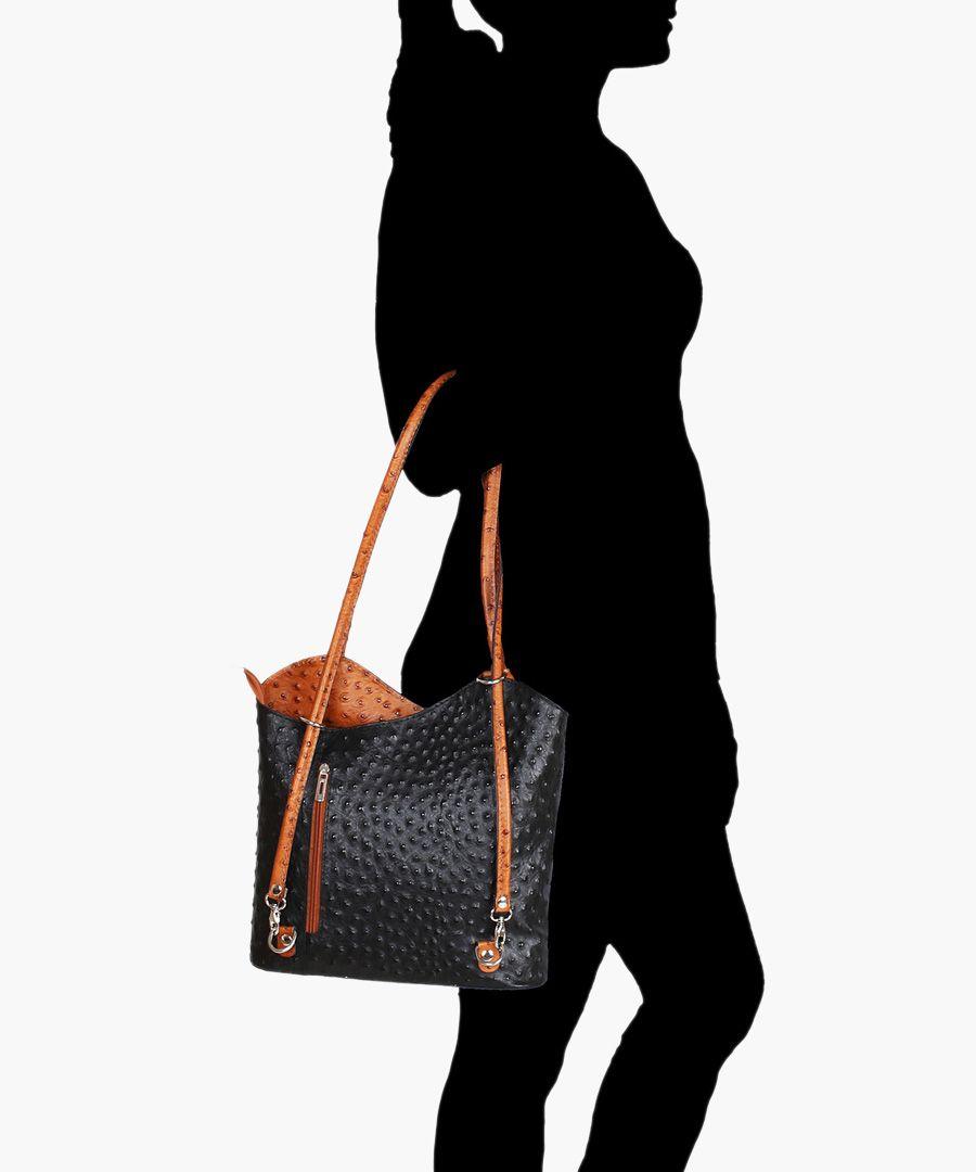 Black and tan leather shoulder bag
