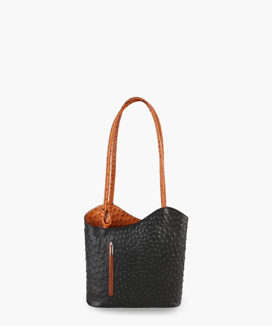 Black and tan leather shoulder bag