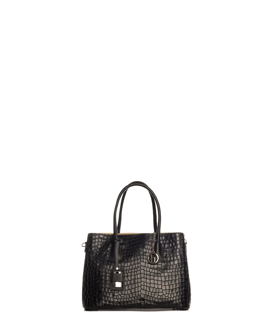 Allia black leather shopper