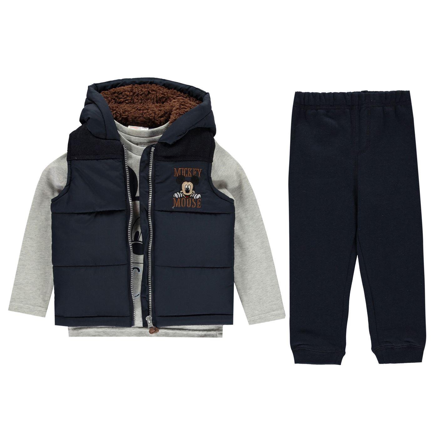 Disney Kids Gilet Set Unisex Babies Light Quilt Sleeveless Jacket Long Sleeve