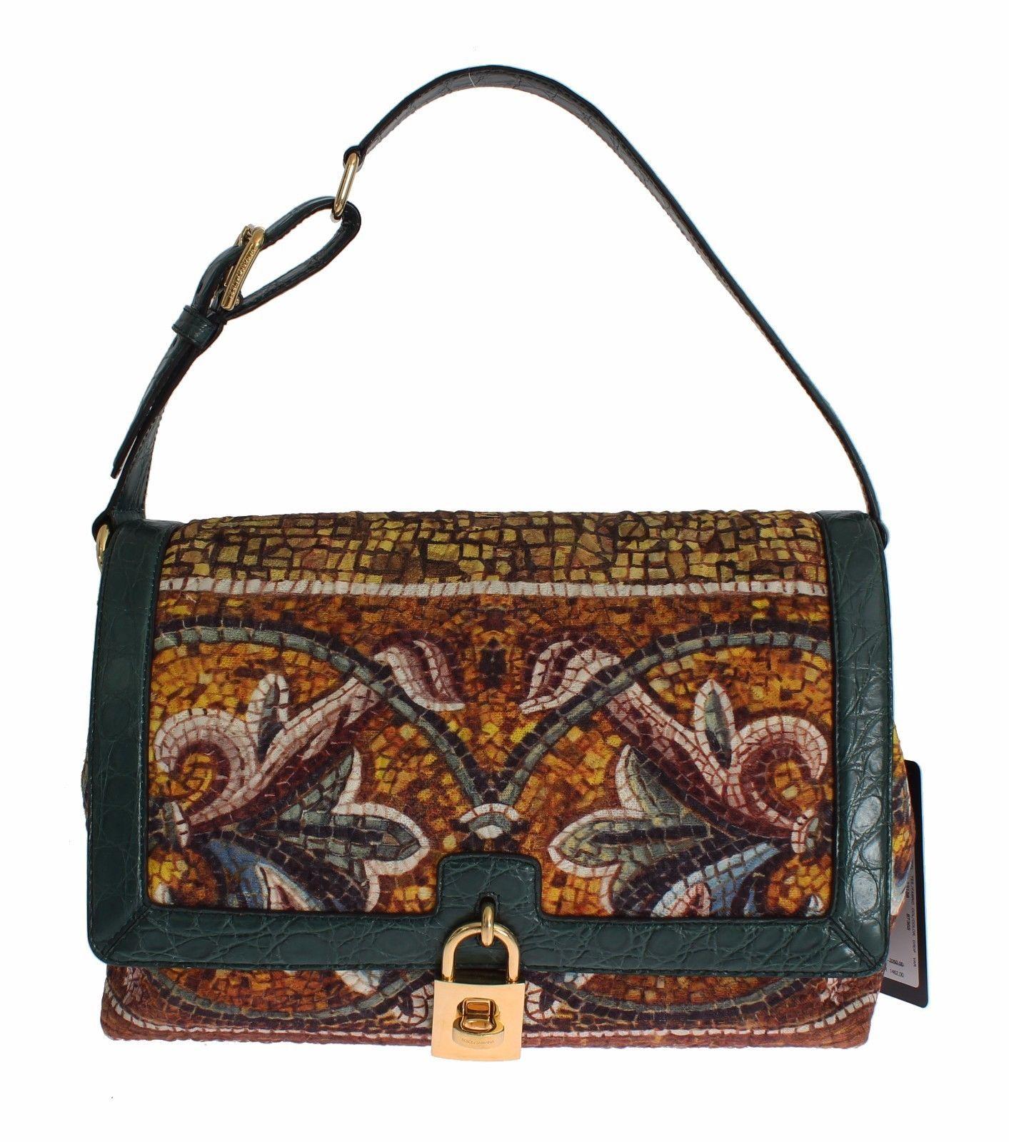 Dolce & Gabbana MISS BONITA Mosaic Brocade Crocodile Hand Shoulder Bag