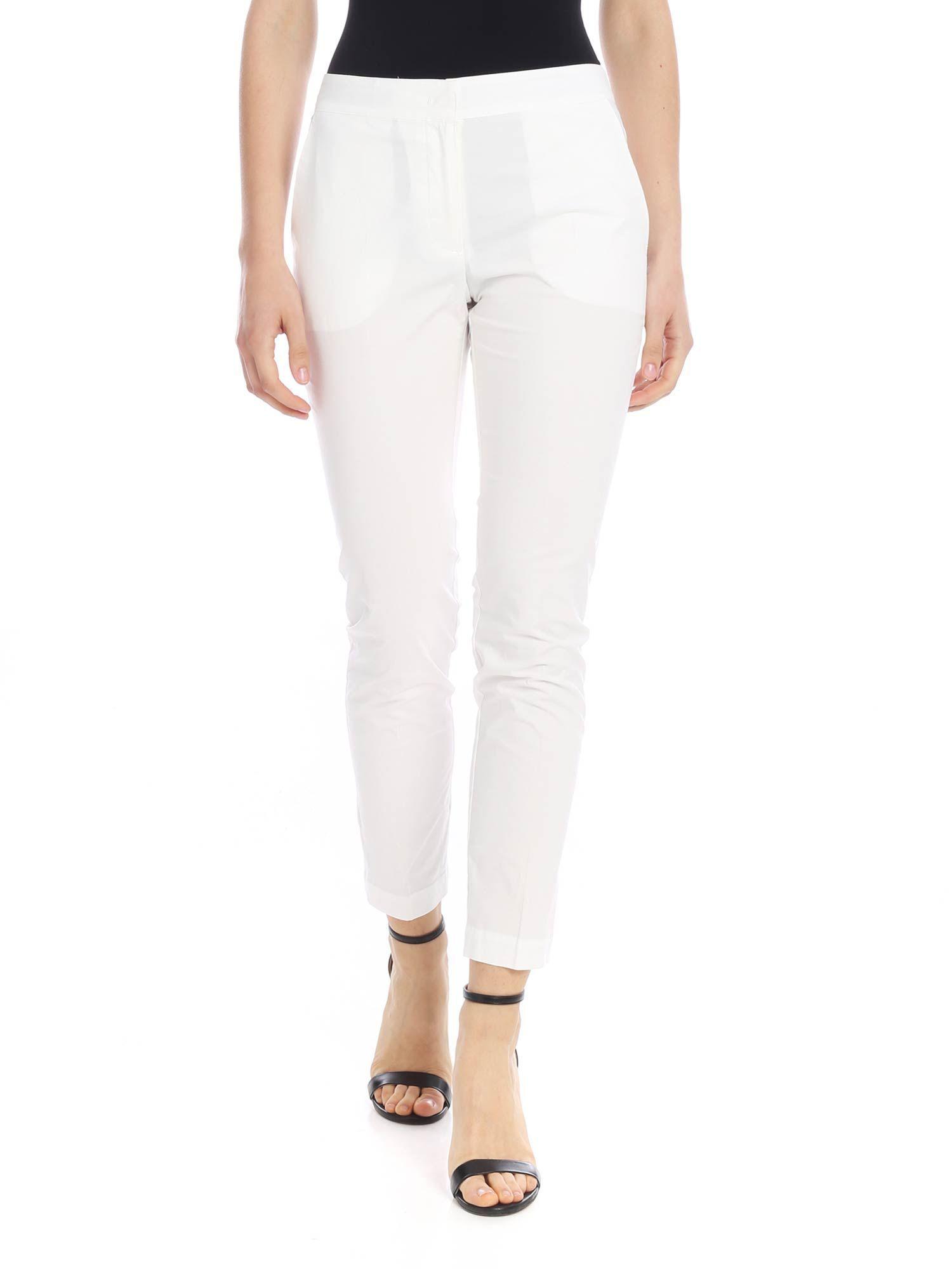 LIU JO WOMEN'S C19207T5512X0181 WHITE COTTON PANTS