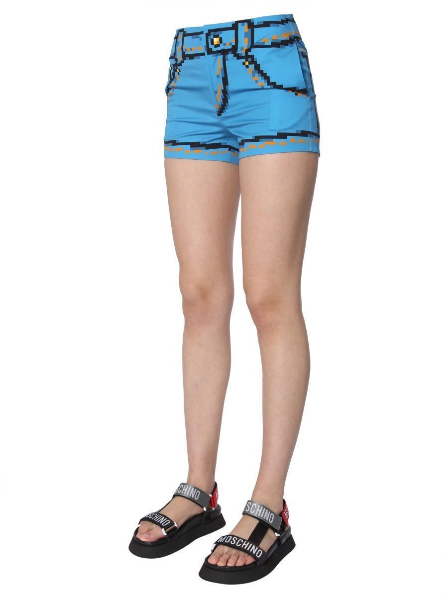MOSCHINO WOMEN'S 037891501302 LIGHT BLUE COTTON SHORTS