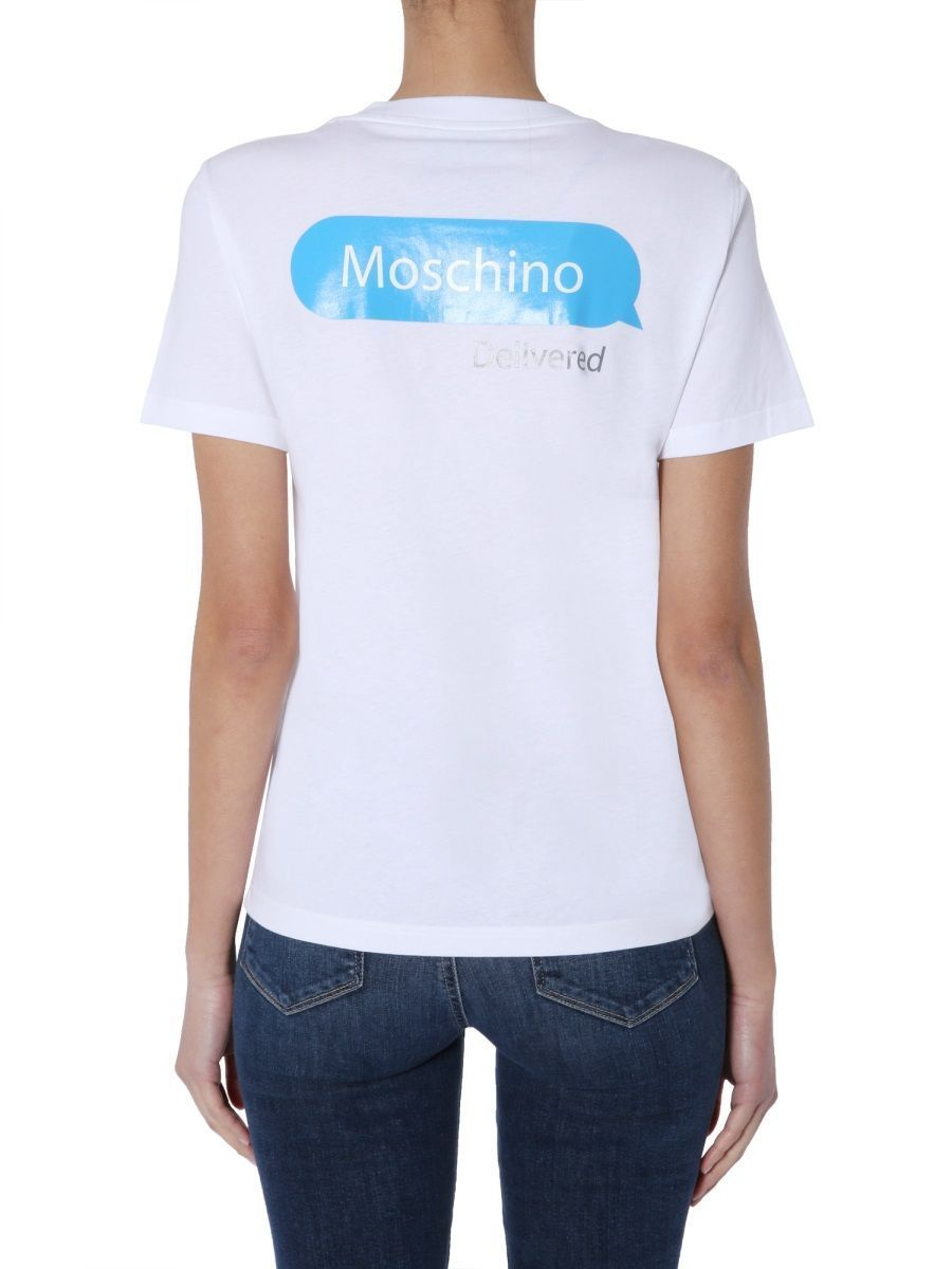 MOSCHINO WOMEN'S A070405401001 WHITE COTTON T-SHIRT