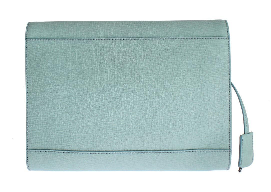 Dolce & Gabbana Blue Leather Studded Document Portfolio Briefcase Bag