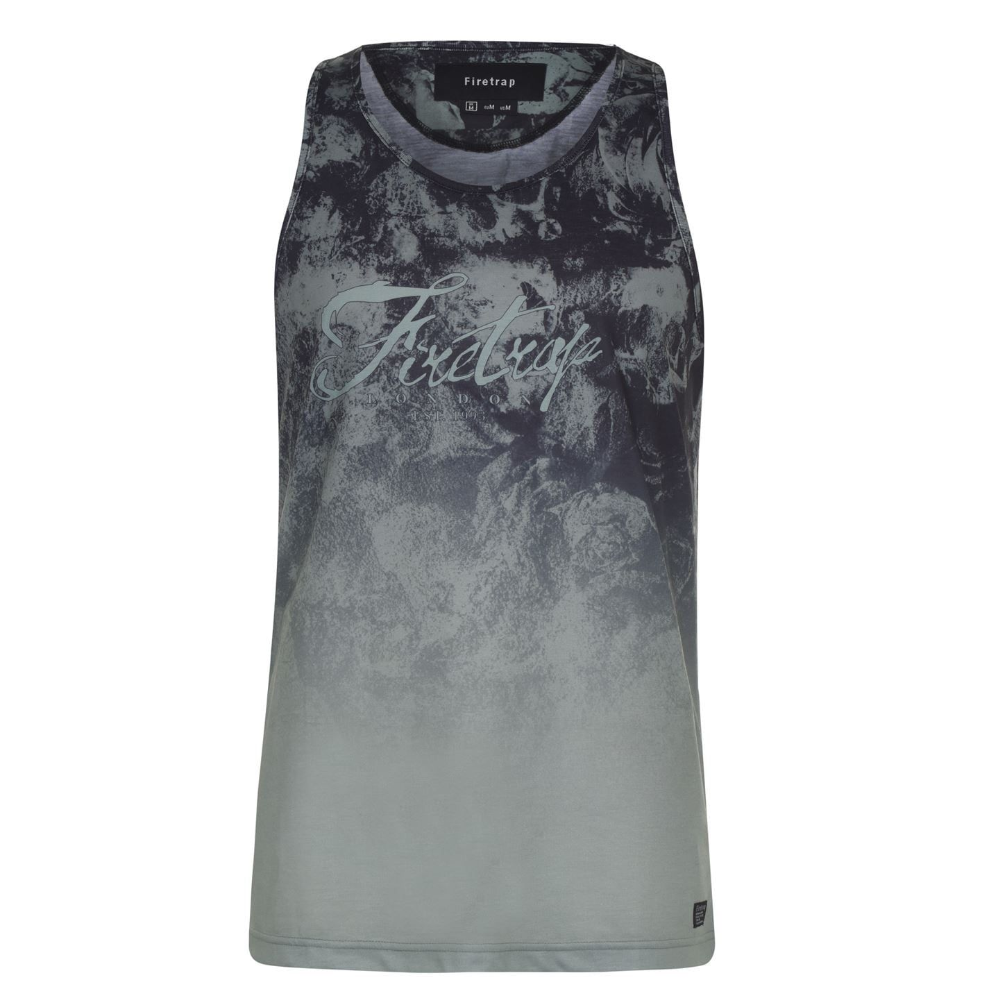 Firetrap Mens Sub Vest Gym Training Top Muscle Scoop Neck Printed Sleeveless