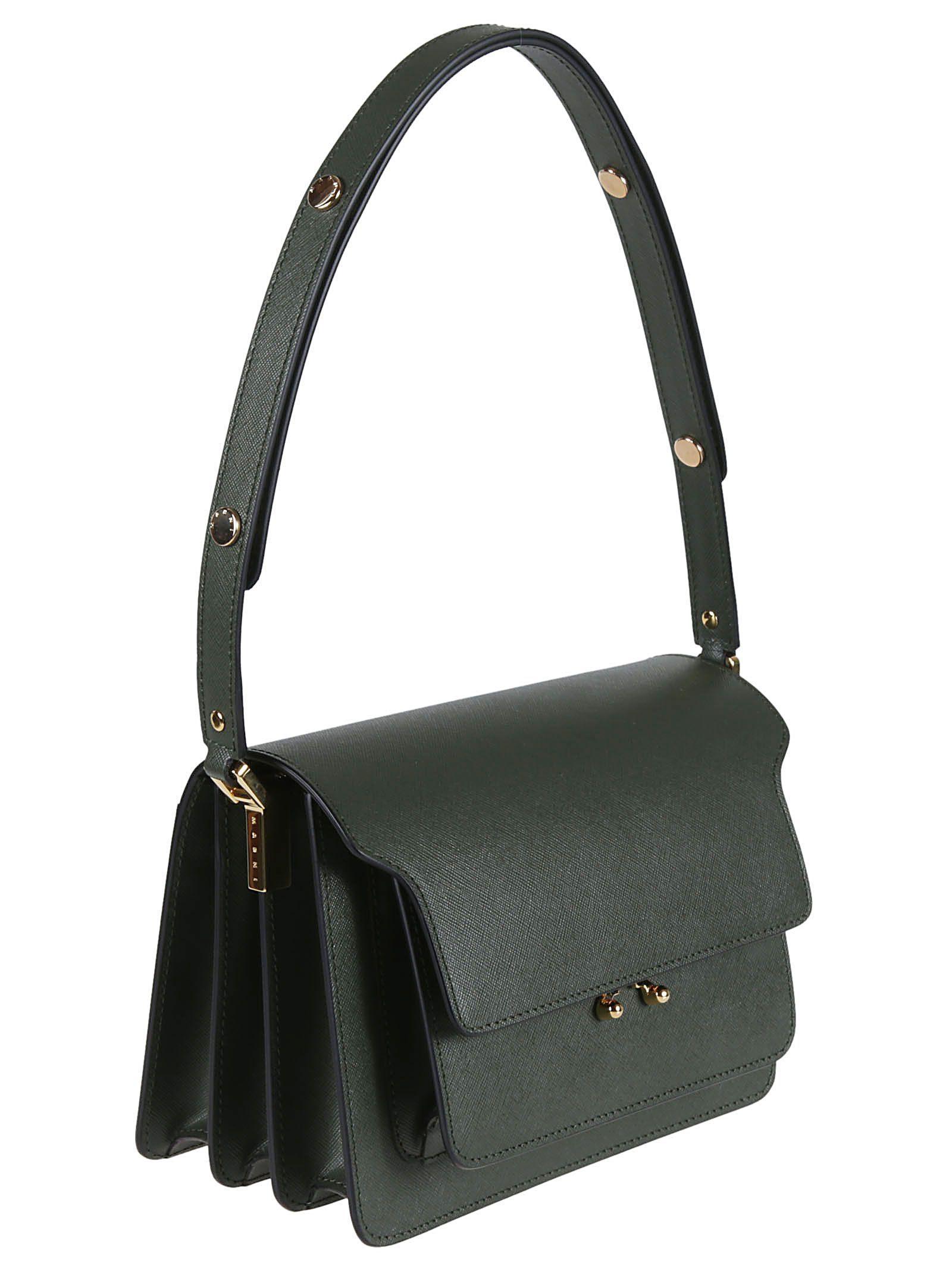 MARNI WOMEN'S SBMPN09NO1LV520ZV55N GREEN LEATHER SHOULDER BAG